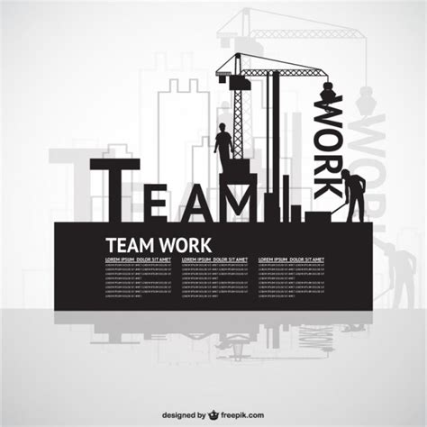 Construction Team Work Template Vector Free Download Team Building Poster Template