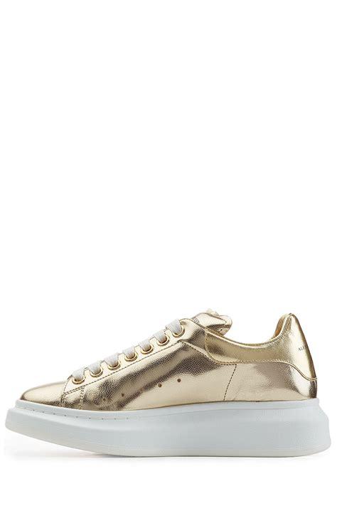 metallic gold sneakers lyst mcqueen metallic leather sneakers gold
