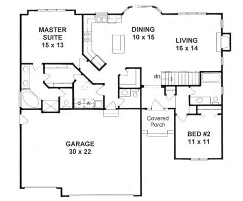 ranch open floor plans plan 1387 2 bedroom quot open floor plan quot ranch w walk in