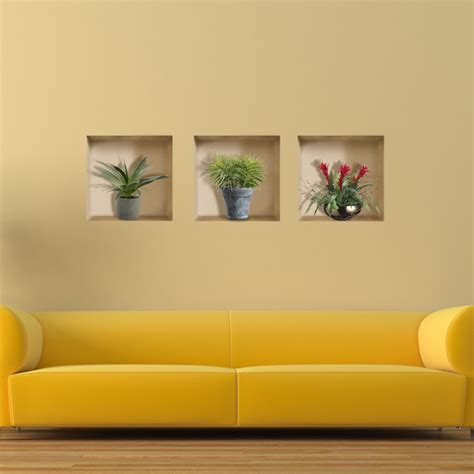 Home Decor Wall Plaques | vase plant 3d riding lattice wall decals pag removable