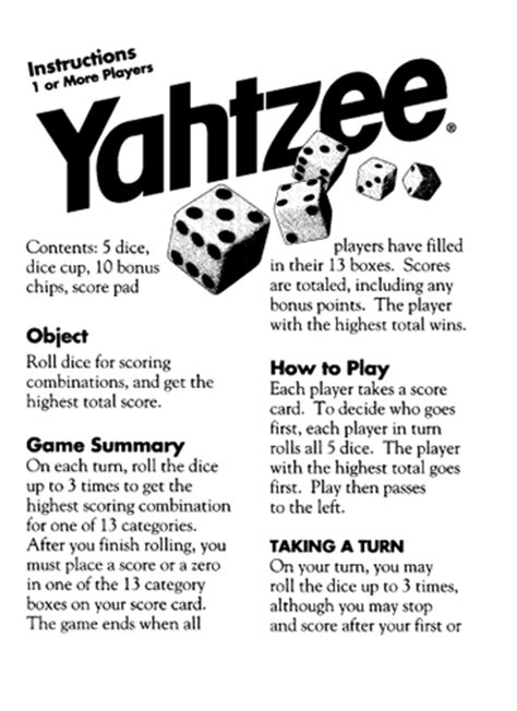 printable yard yahtzee rules here s a set of official yahtzee playing rules from hasbro