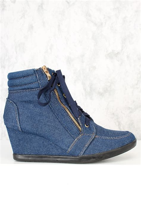 Boots Wedges Denim blue denim print lace up tie sneaker wedges faux suede