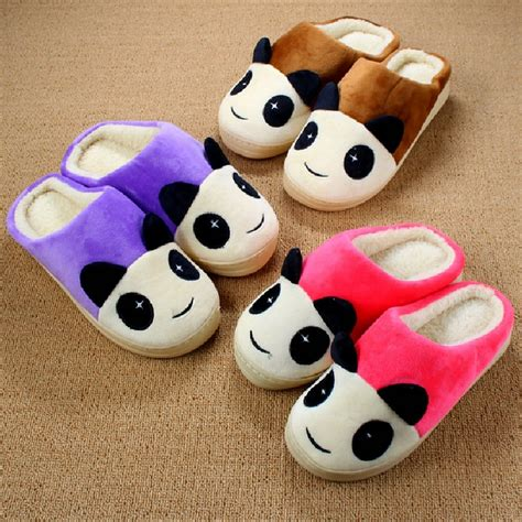 panda house slippers 2016 cute animal slippers couple cartoon panda indoor home slipper shoes winter cotton