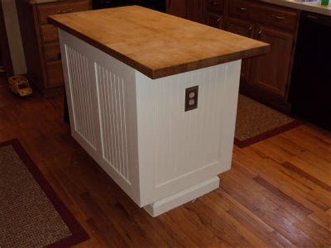 Wainscoting On Kitchen Island bead board with wood top for the basement