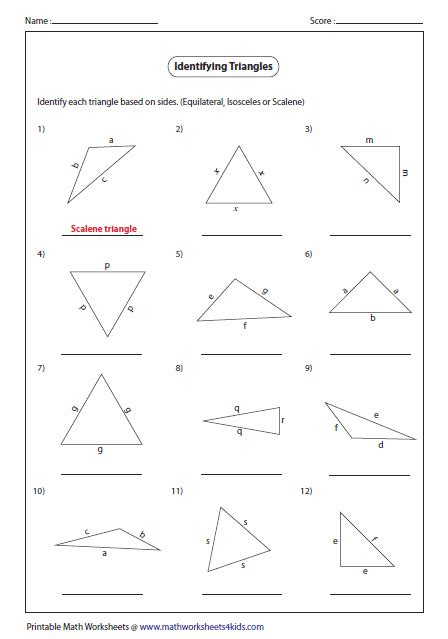 isosceles triangle worksheet triangles worksheets