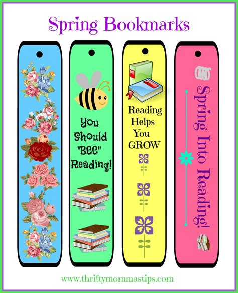 printable bookmarks spring free cheery diy spring bookmarks printable thrifty