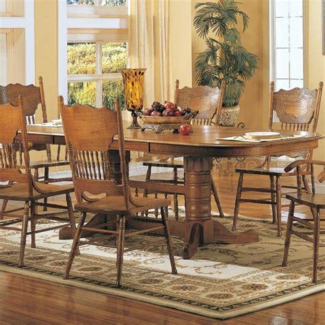 medium warm oak finish classic dining table woptional items