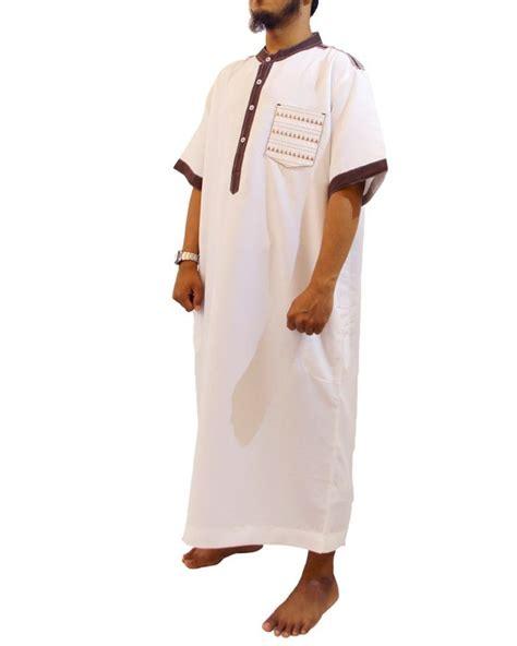 Jubah Putih Pria Jubah Muslim Pria Marocco Gamis Pria Lengan Pendek Kerah