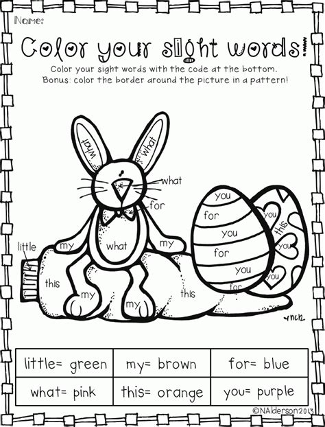 Coloring Page Words by Sight Words Coloring Pages Coloring Home