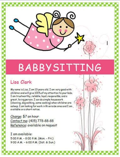 Babysitting Flyers And Ideas 16 Free Templates Babysitting Flyer Template Pdf