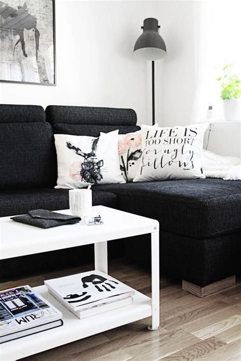 black couch living room black couches couch and pillows on pinterest