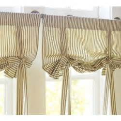 Blackout Curtain Lining Ring Top Ticking Stripe Ribbon Tie Curtain Pottery Barn Polyvore