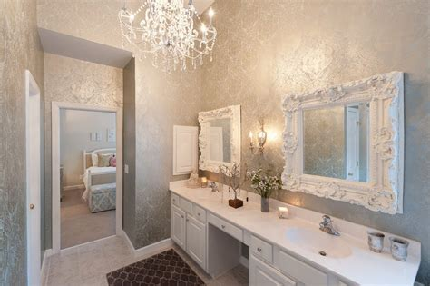 Damask wallpaper bathroom victorian with damask wallpaper lacquered mirror damask wallpaper