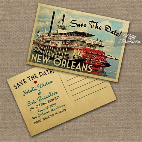 new orleans louisiana save the date postcards vtw nifty