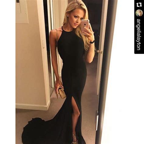 Black Slim Dress slim cutout black prom dress halter prom dress backless