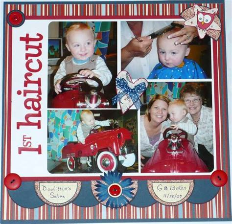 Scrapbook Layout For First Haircut | layout baby s first haircut