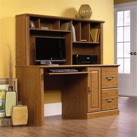 Wood Computer Desk With Hutch In Carolina Oak 401354 Desks With Hutch