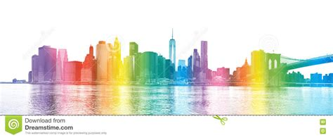 new york colors new york city rainbow colors silhouette of manhattan
