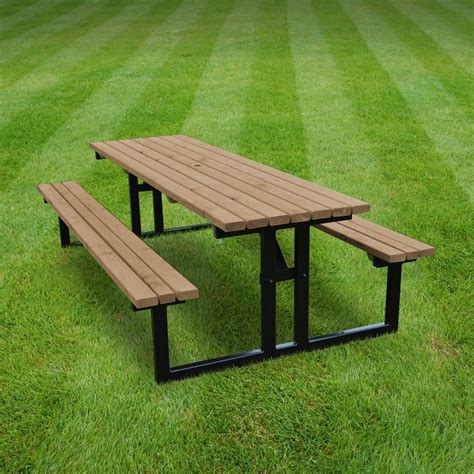 picnic tables and benches tinwell stpb6 rustic brown steel picnic table 6ft