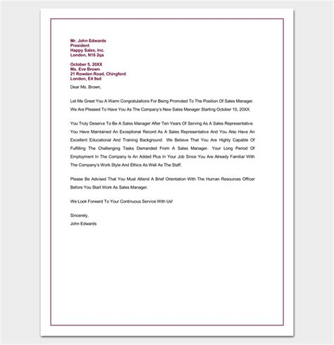 Promotion Letter To Company Congratulation Letter Template 18 Sles For Word Pdf Format