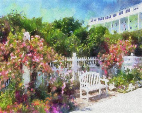 Grand Garden by Grand Hotel Gardens Mackinac Island Michigan Painting By Betsy Foster Breen