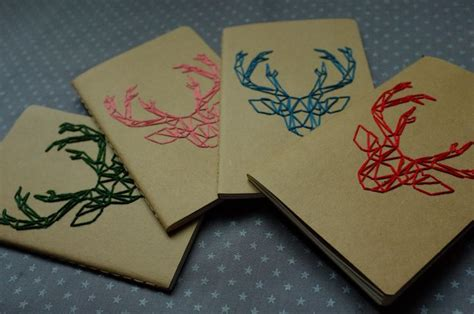 ideas to be realized a notebook books diy deer emboiderie notebook moleskine notebook cover