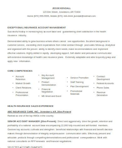 Insurance Executive Sle Resume by Sle Account Executive Resume 7 Exles In Word