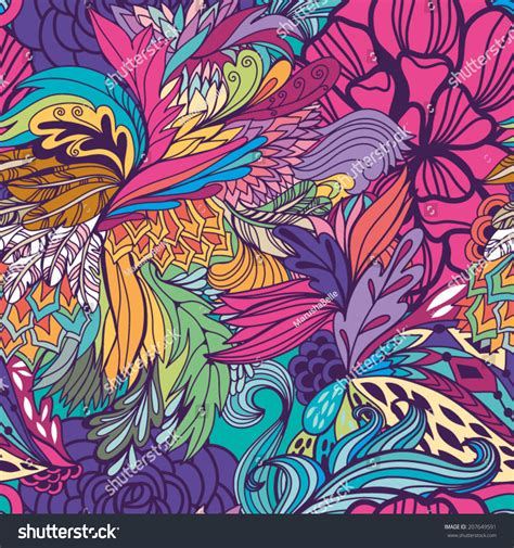 magic pattern background magic seamless pattern with abstract flowers and feathers