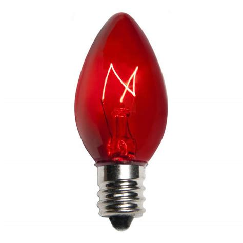 transparent red c7 incandescent christmas light bulbs
