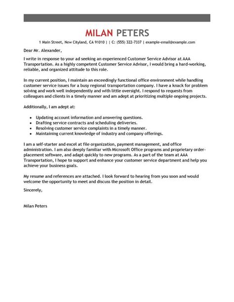 Cover Letter Presentation Exle by Best Transportation Customer Service Advisor Cover Letter