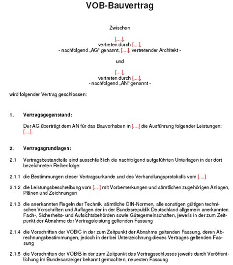 Angebot Vob Muster Musterschreiben Fr Das Angebot Eines Wartungsvertrages Muster Bauvertrag Bild Grer Anzeigen