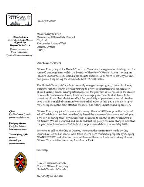 Ucc Letter Ottawa Presbytery Ucc Letter Re Cansec