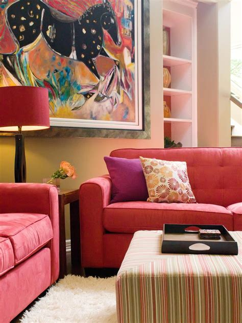 living room with red sofa vibrant red sofas hgtv
