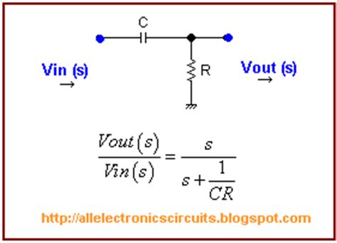 high pass filter equation all electronics circuits rc high pass filter