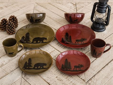 geschirr rustikal moose and lodge stoneware dinnerware collection