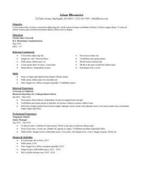 Resume For Internship 998 Sles 15 Templates How To Write Internship Resume Template