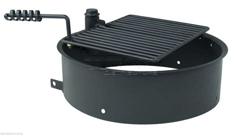 pit ring with grill 32 quot steel ring with cooking grate cfire pit park grill bbq cing trail ebay