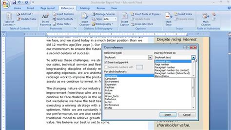 creating cross references in word