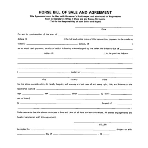 bill of sale agreement template equine bill of sales anuvrat info