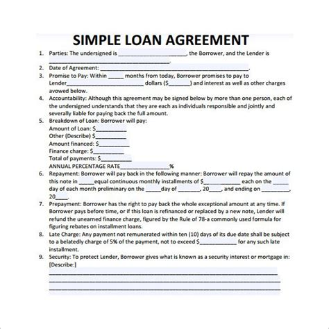 loan contract template 26 exles in word pdf free