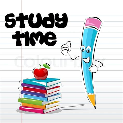wallpaper cartoon study illustration of study time card with apple book and pencil