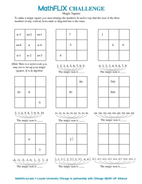 Magic Square Worksheet by 4th Grade Math Patterns Worksheets Abitlikethis