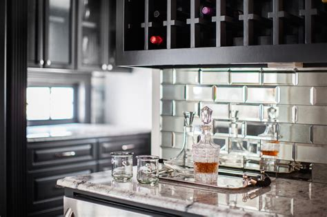 mirrored backsplash beveled mirrored subway tiles contemporary kitchen
