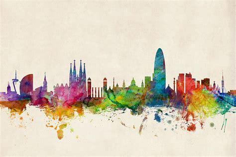 Kaos Splashy Water Colour 11 Tx barcelona spain skyline digital by michael tompsett