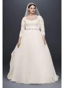 oleg cassini plus size organza 3 4 wedding dress david s