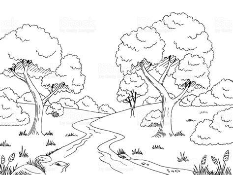 river bank coloring page forest river graphic black white landscape sketch