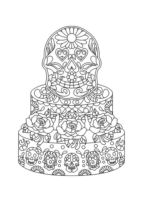 Mexican cake - Cupcakes Adult Coloring Pages