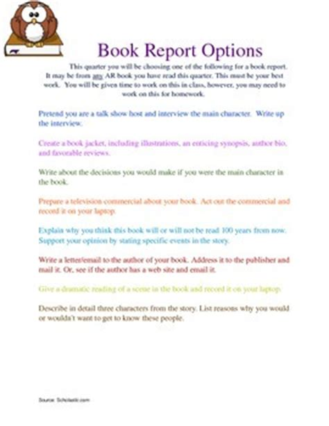 sixth grade book report book report ideas