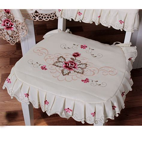 ruffled chair cover pattern vintage flower embroidered tie on seat cushion ruffle pad
