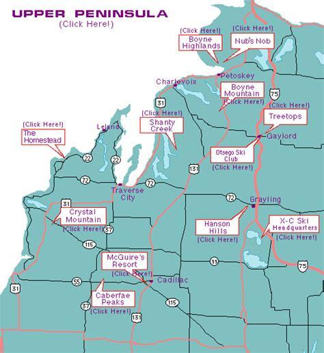 map of northern mi ski michigan ski areas and ski travel in michigan